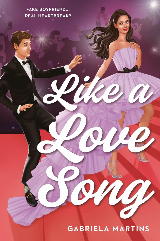 Like a Love song by Gabriela Martins, book cover. a sweet fake romance in a YA contemporary. Follow a Brazilian pop star and her fake British boyfriend!