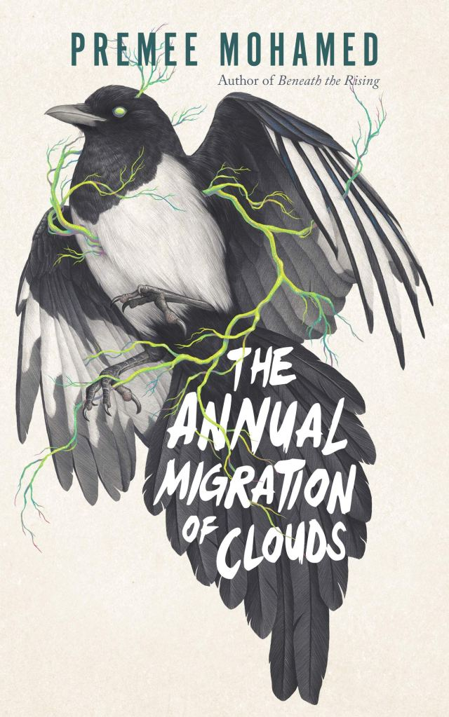 The Annual migration of clouds by premee mohamed, book cover from a list of diverse climate fiction